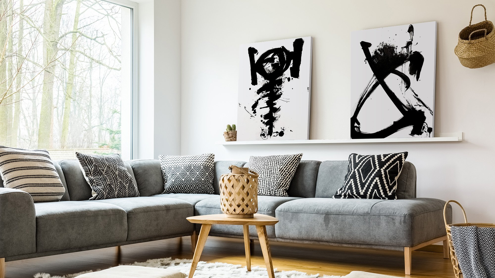 black and white abstract on wall in living room